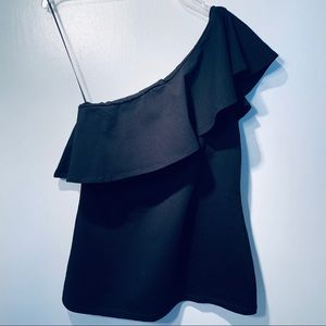 SUSANA MONACO BLACK ONE SHOULDER RUFFLE BLOUSE